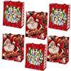 Gift Boutique 再利用可能なクリスマストートギフトバッグ ハンドル付き 大きなホリデーパーティーの記念品バッグ 12個パック