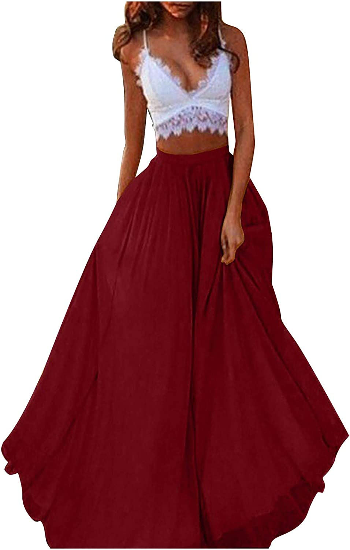 DILYluer Women's Solid Color Long Skirt Large Swing Maxi Skirt Fashion High Waist Skirt Casual Loose Skirt Beachwear