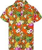 King Kameha Funky Casual Camisa hawaiana para niños y niñas bolsillo frontal manga corta Unisex Piña flores impresión - naranja - 24 meses