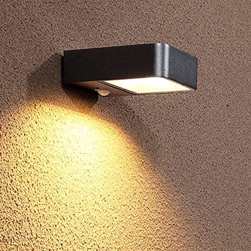 Luces de pared solares al aire libre, lámparas de pared de entrada al patio, focos al aire libre a prueba de agua, focos, sensor de terraza, iluminación de iluminación, lámparas de sensores inteligent