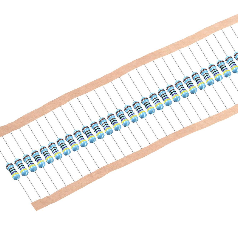 uxcell 100 pcs Metal Film Resistors 4.7K Ohm 0.5W 1/2W 1% Tolerances 5 Color Bands