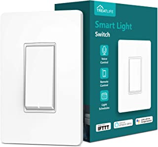 Treatlife Smart Light Switch, Neutral Wire Needed, 2.4Ghz Wi-Fi Light Switch,Works with Alexa, Google Assistant and IFTTT, Schedule, Remote Control, Single Pole, ETL Listed (1 PACK)