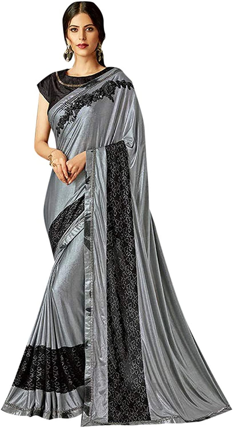 Indian Lycra Grey Party Wear Designer Bollywood Saree Blouse 7484