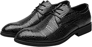Men's Shoes Stylish and Comfortable Men's PU Leather Shoes Crocodile Skin Texture Upper Lace Up Breathable Business Lined Oxfords wg (Color : Wine, Size : 37 EU)
