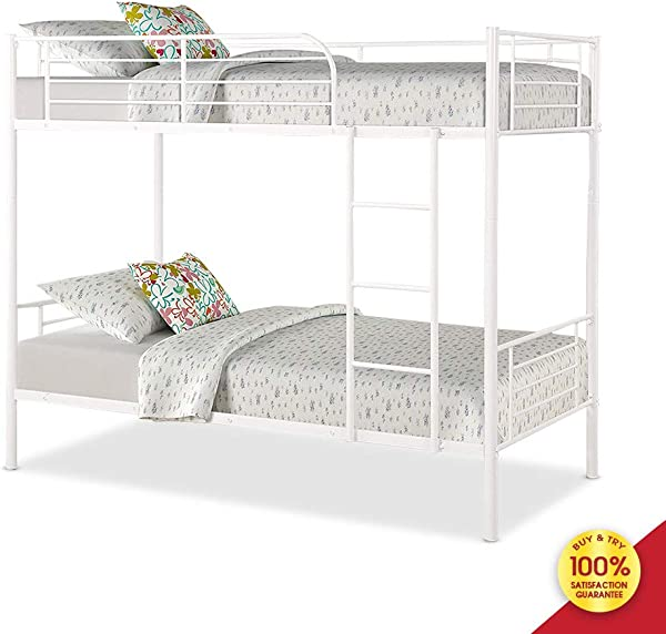 Romatlink Bunk Bed Frame White Finished Metal Twin Bedstock With Ladder And Guardrail Fits For Universal Single Mattress Perfect For Adults Children Teenagers