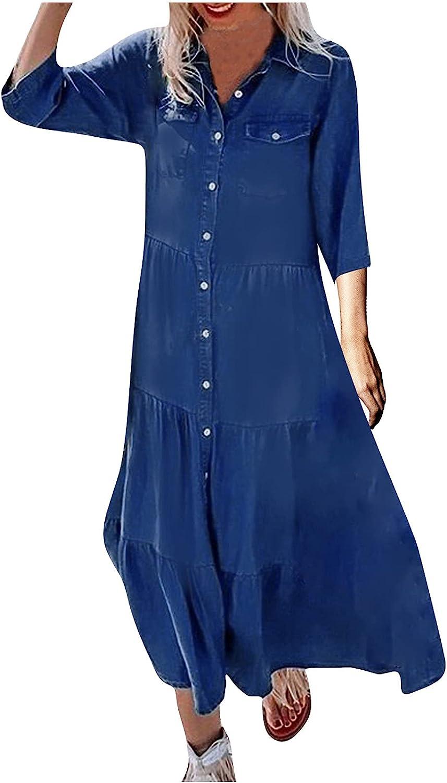 SHOPESSA 3/4 Sleeve Peplum Dress for Women Lapel Button Down Flowy Denim Jean Dresses Ruffle Casual Long Dress