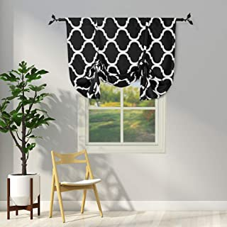Melodieux Moroccan Thermal Insulated Tie Up Shade Room Darkening Blackout Rod Pocket Curtain for Small Window, 42 by 63 Inch, Black (1 Panel)