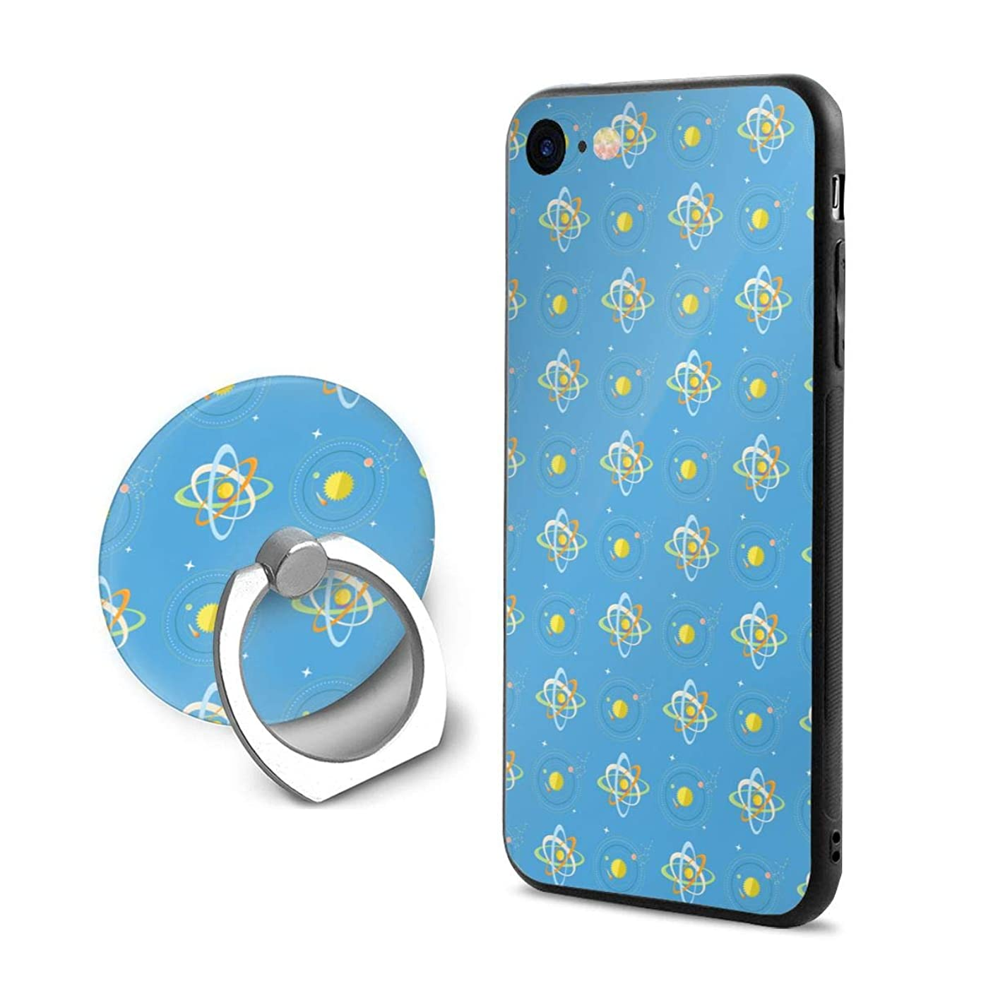 iPhone 7/8 Case Bright Solar System and Planets Rotating Blue 360 Degree Rotating Ring Kickstand Case Shockproof Anti-Scratch Impact Protection Function for iPhone 7/8