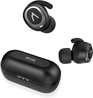 Base Jump True Wireless Earbuds Headphones: 32+ Hours, Bluetooth 5, Sport Small Fit, Charging Case. Deep Bass Sound Headset, Noise Canceling Earphones for Android Samsung & iPhone (Black)