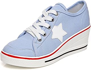 Sokaly Womens Girls Wedge Sneakers Ladies Trainer Canvas Shoes High-Heeled Platforms Lace up Pump Shoes