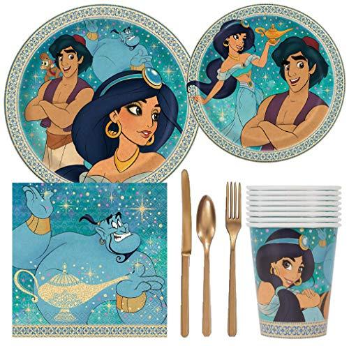 Disney Aladdin Geburtstagsparty-Set mit Kuchen- und Lunch-Tellern, Besteck, Becher, Servietten (8 Gäste)
