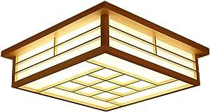 GQLB Luz De Techo De Tatami Japonés Led Lámpara 45 * 45 * 12 Cm Dormitorio De Madera Lámpara Lámpara Viento Pastoral a La Luz De La Sala De Control Remoto, Luz Cálida