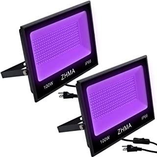 ZHMA 100W UV LED Black Light,IP66 Waterproof UV Light,for Indoor and Outdoor Blacklight Party,Stage Lighting,Aquarium,Neon Glow,Fluorescent Effect, Glow in The Dark Curing.(2 Pack)