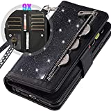 iPhone 12 Pro Max 6.7' Bling Wallet Case for Women/Girls,Auker Sparkly Protective Leather Wristlet Zipper Purse Case with Trifold 9 Card Holder&Kickstand Flip Magnet Change Pocket Wallet Clutch Case