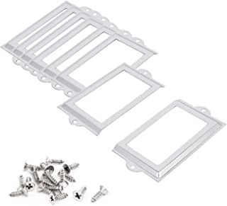 SpzcdZa 50Pack Office Library File Drawer Cabinet Card Tag Label Card Holder Drawer Pull/Label Holders/Label Frames Card/Label Holder Modern Label Holders Metal Frame (105x60mm Silver)