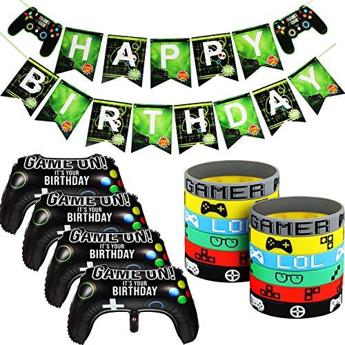 Juego de Decoraciones de Suministros de Fiesta de Videojuegos Incluye Pancarta de Happy Birthday Globos de Controlador Game on Pulseras de Videojuegos para Cumpleaños Fiesta Temática de Juego