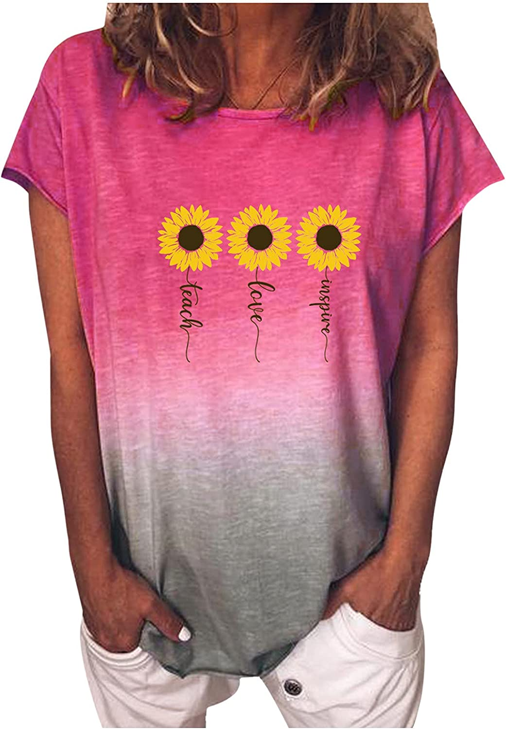 XINXX Summer Tops for Women Casual Short Sleeve Loose Fit Sunflower Graphic Tees Vintage Shirts Blouses