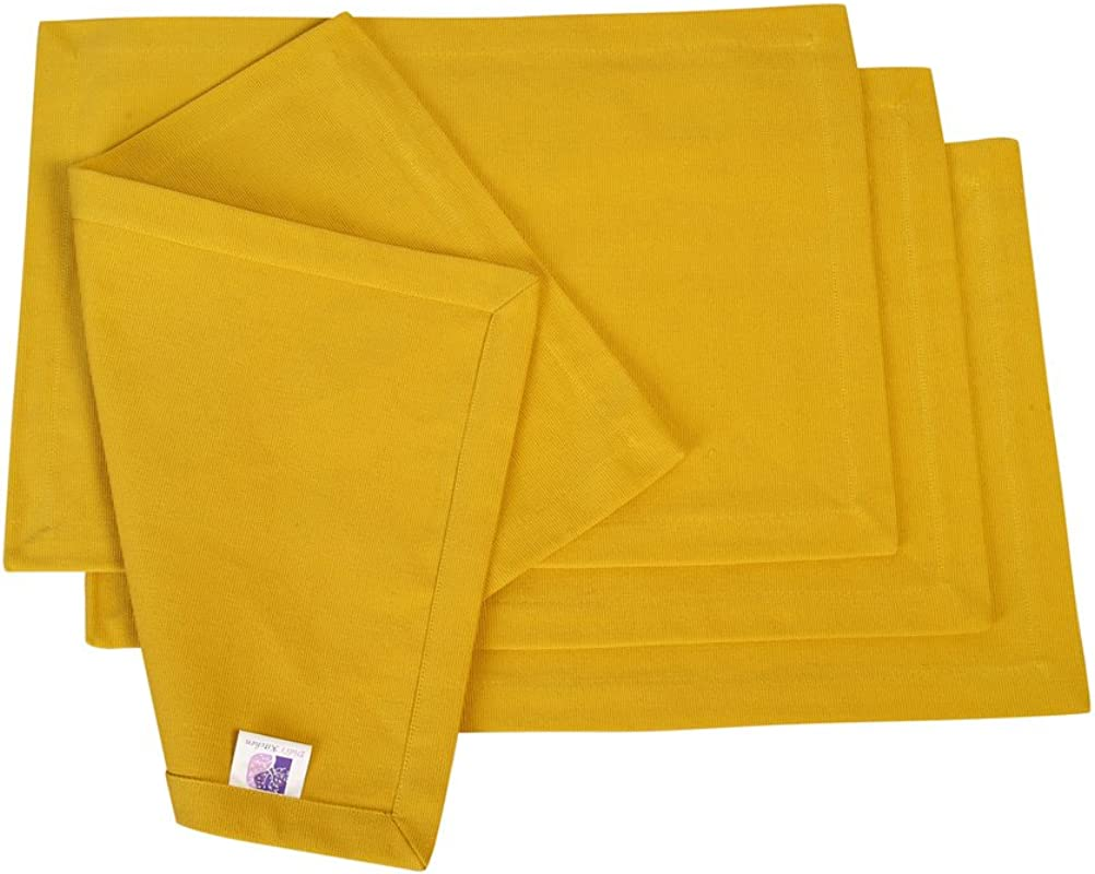 Spicy Mustard Cotton Placemats 4 Pack