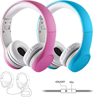 Twins Kids Headphones, Yusonic 85db Volume Limited Safe Music Sharing Kids Headphones for Boys and Girls (2 pcs, Pink+Blue) (Wired + Mic)