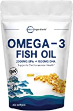 Triple Strength Omega-3 Fish Oil Supplement, 3750mg Per Serving, 300 Softgels, EPA 2000mg, DHA 1500mg, Strongly Supports Cognitive Health and Cardiovascular Function, No GMOs and Made in USA
