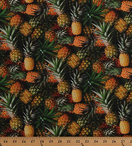 Cotton Pineapples Tropical Fruits Packed Summer Hawaii A La Carte Cotton Fabric Print by The Yard (D571.77)
