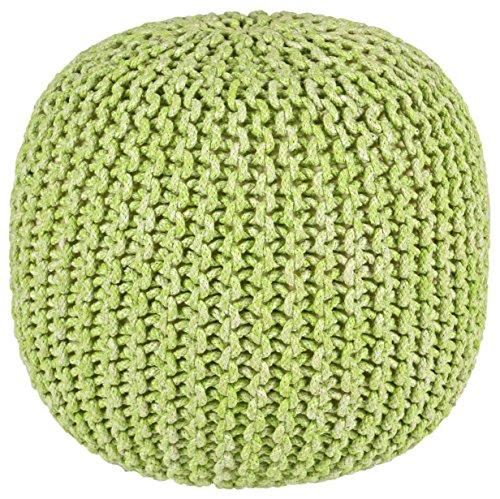 Pouf Ottoman 2-Tone Cotton Rope, Green, 16-Inch