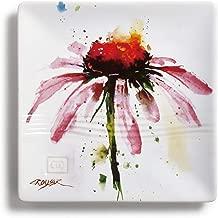 DEMDACO Dean Crouser Echinacea Herbal Floral Watercolor Red 7 x 7 Ceramic Stoneware Snack Plate