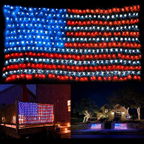 American Flag Lights with 420 Super Bright LEDs,Waterproof Led Flag Net Light of The United States, Hanging Ornaments for Independence Day, Memorial Day, July 4th, National Day Decoration