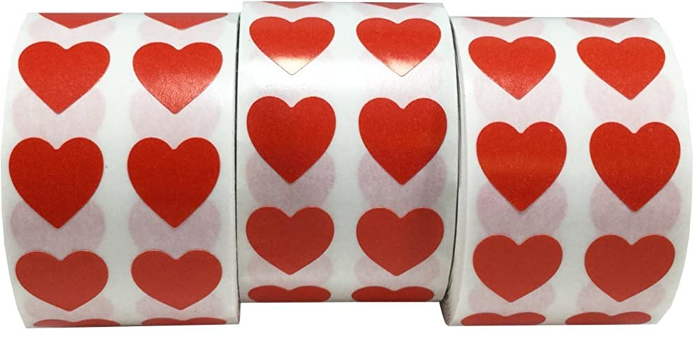 Red Heart Stickers for Valentine's Day Crafting Scrapbooking 1/2 Inch 3,000 Total Stickers