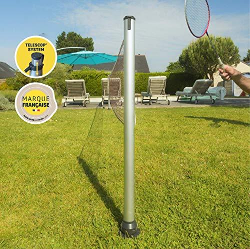 GARD & ROCK - Multisport-Set höhenverstellbare Pfosten aus Aluminium - Quick Fixation System - Badminton, Tennis, Volleyball. - Zum Aufstecken auf den Ankerfuß