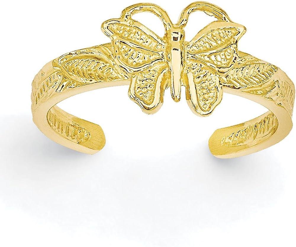 Women's 14K Yellow Gold Butterfly Toe Ring