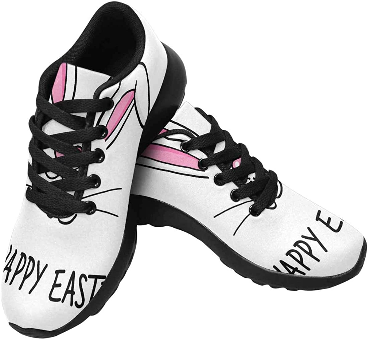 InterestPrint Face of Cute Easter Bunny Women's Running Shoes - Casual Breathable Athletic Tennis Sneakers