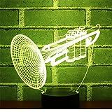 3D Luz De Noche 7 Colores Cambian Control Táctil Dormitorio Usb Lámpara De Mesa Decorativa Regalo De Cumpleaños Cuerno De Trompeta