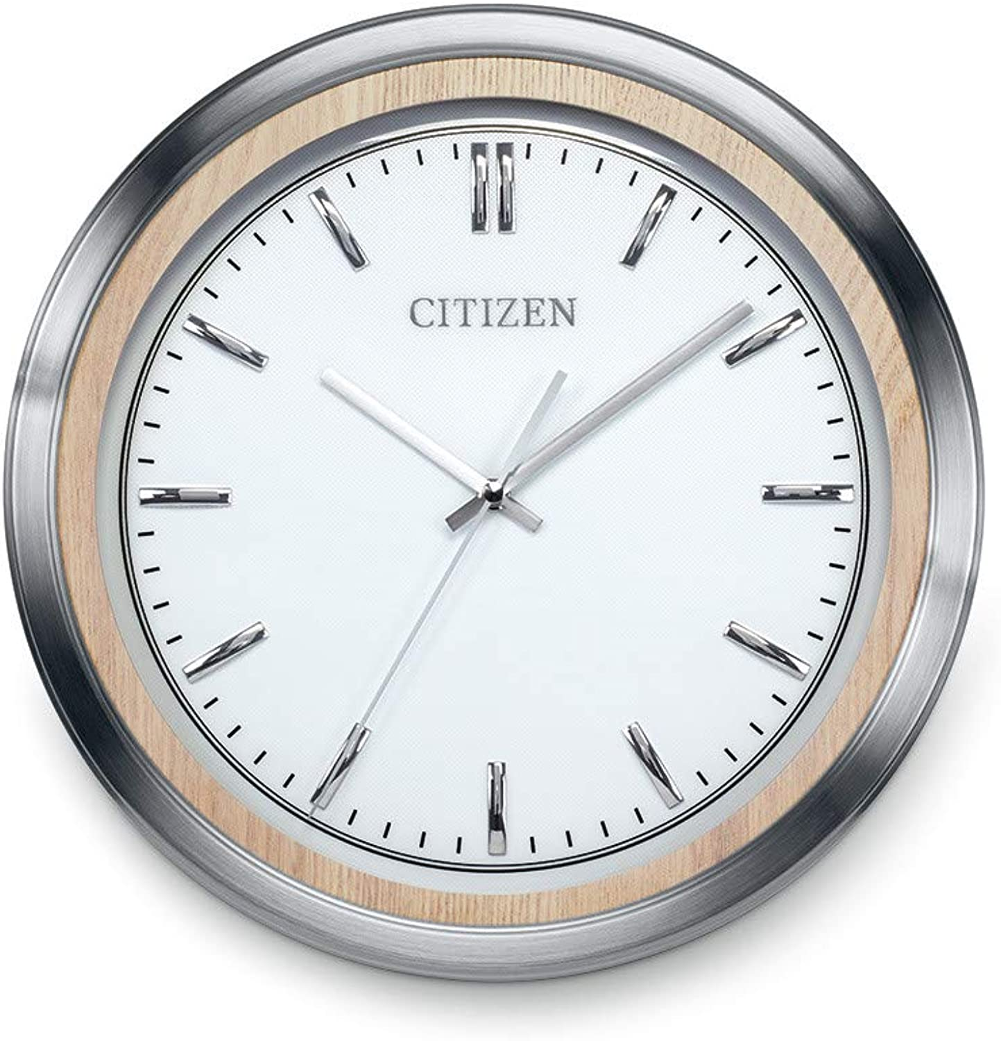 Citizen Gallery Wall Clock Light Beige Wood and Silver Tone Frame CC2009