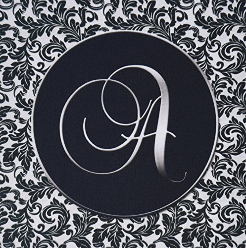 3dRose LLC 8 x 8 x 0.25 Inches Mouse Pad, Letter A Black/White Damask (mp_38750_1)