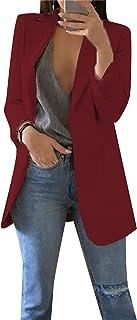 EFOFEI Women's Tweed Plaid Round Neck Jackets Casual Slim Fit Long Sleeve Blazer Plus Size