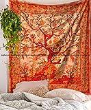 Tapiz de árbol de la vida para colgar en la pared, tapiz hippie mandala tapiz decorativo para pared, collage de playa, tapiz bohemio para decoración de pared (naranja)