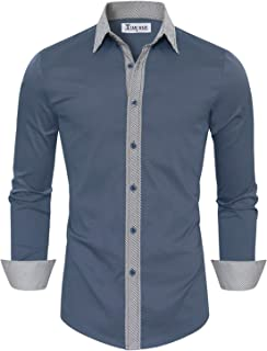 TAM WARE Mens Casual Slim Fit Contrast Lining Button Down Dress Shirts