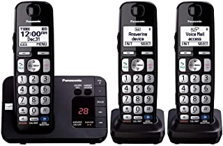 Panasonic KX-TGE233B DECT 6.0 Plus Technology (1.9GHz) Wall Mountable Range Extender Compatible Expandable Cordless Digital Phone with Large Keypad - 3 Handsets