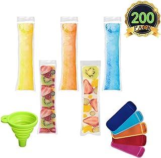 AUTOPkio 200 piezas Bolsas para helados de paletas de hielo con 1 pz De embudo y 5 piezas Mangas para helados de yogur, hielo o paletas congeladas, 22 x 6cm BPA Freezer Zip-Top