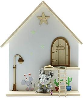 Kit ratoncito Pérez Casita Amigurumi con Puerta, farola, Escalera y estrella de Madera para Pintar y Personalizar+Alfombra+Plato+Quesito+estrellas luminosas+vinilos: Amazon.es: Handmade