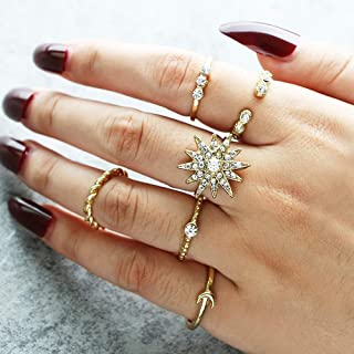 Deniferymakeup Vintage Gold Ring Simulated Diamond Ring Rhinestone Star Ring Moon Alloy Finger Ring Open Ring Crystal Band Ring Love Stackable Rings Gift for Girls and Women Water Drop Ring (Set of 6)