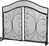 Haverchair 43 x 36.7 Inch Fireplace Screen Doors Large Flat Guard Wrought with Metal Decorative Mesh/Cover Firewood Safety Burning Stove Accessories, Black