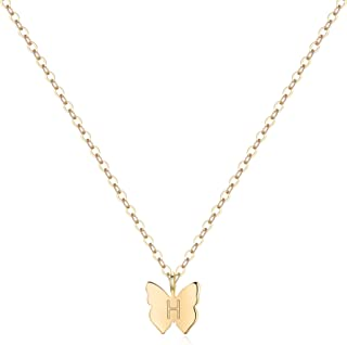 Turandoss Initial Butterfly Necklaces for Girls - Dainty 14K Gold Filled Handmade Personalized Letter Butterfly Choker Nec...
