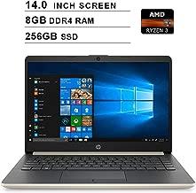 2019 Flagship HP 14 Inch Laptop (AMD Ryzen 3 3200U 2.6GHz up to 3.5GHz, AMD Radeon Vega 3 Graphics, 8GB DDR4 RAM, 256GB SSD, WiFi, Bluetooth, HDMI, Windows 10 Home S) (Gold)