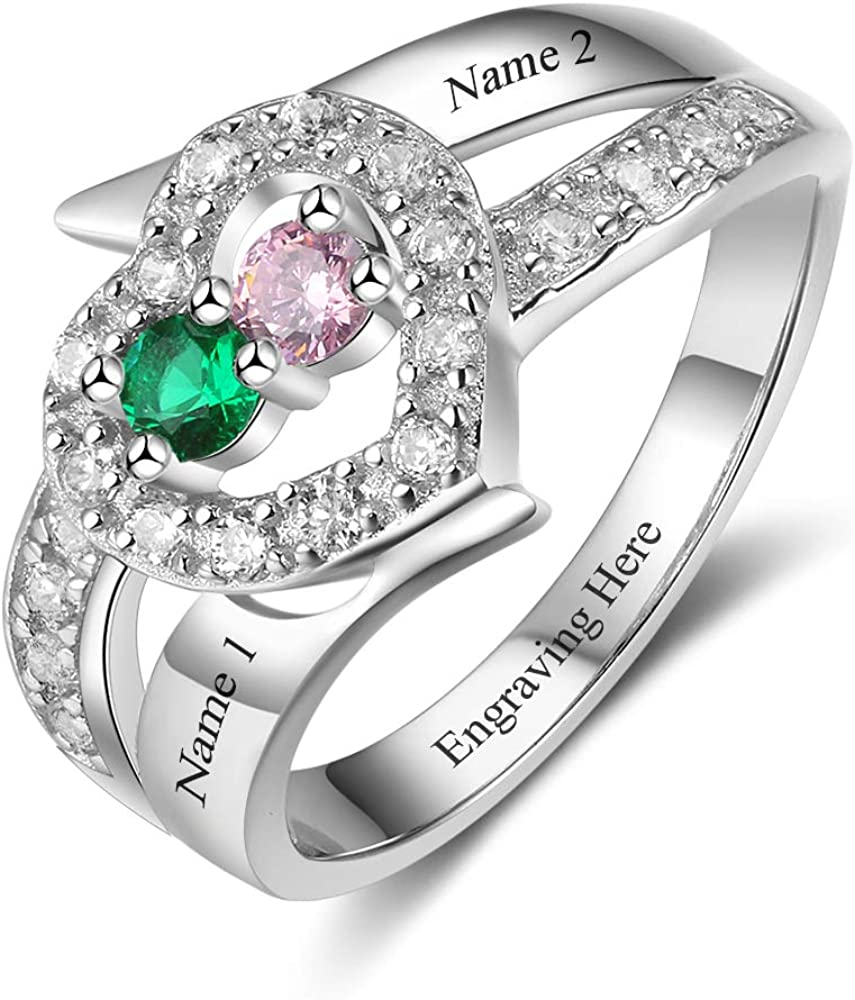 Personalized Promise Rings for Her with 2 Simulated Birthstones Custom Engraved 2 Name Rings Couples Engagement Rings for Women