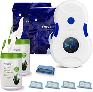 Sleep8 Cpap Cleaner + Extra Sanitizing Bag + 2 Cpap Mask Wipes + 4 DreamStation Filter Kit (1Reusable 4Disposable)