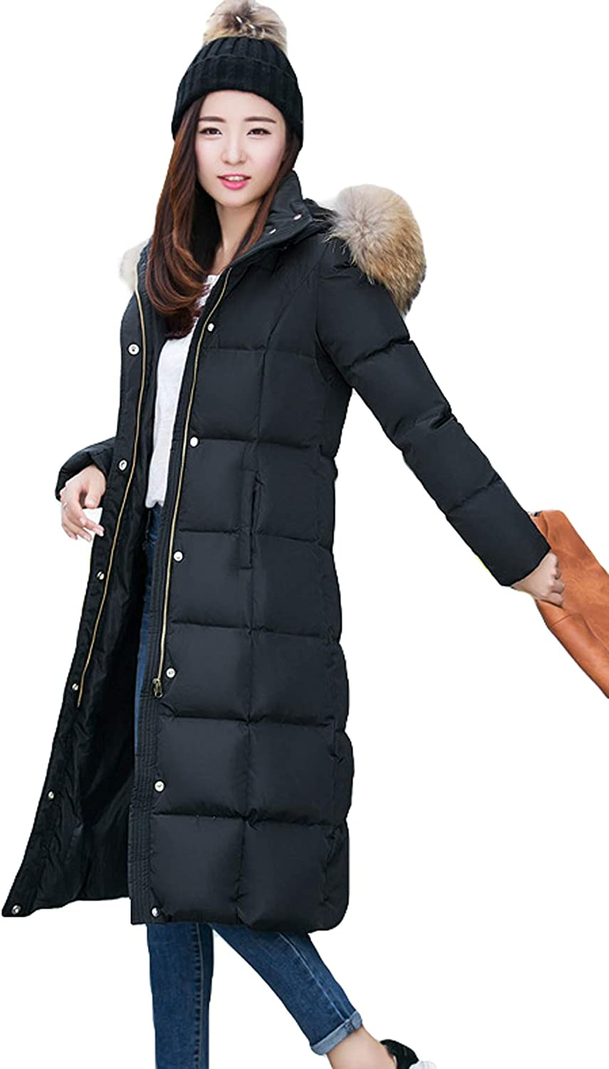 Itemnew Women's Regular Fit Real Fur Hooded Long Quilted Down Coat Windbreaker