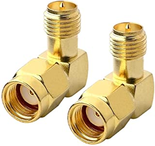 Boobrie 90 Degree RF Coaxial Coax Adapter RP SMA Male (Hole) to RP SMA Female (pin) Right Angle Connector for Audio FPV An...