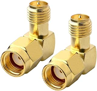 Boobrie 90 Degree RF Coaxial Coax Adapter RP SMA Male (Hole) to RP SMA Female (pin) Right Angle Connector for Audio FPV Antennas Radio Video Mobile Pack of 2